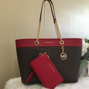 Michael Kors shania large chain tote & wallet